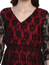 Load image into Gallery viewer, Scarlet Red A-line Maternity Dress Made of Lace & Crepe- Mine4Nine