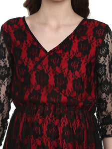 Scarlet Red A-line Maternity Dress Made of Lace & Crepe- Mine4Nine