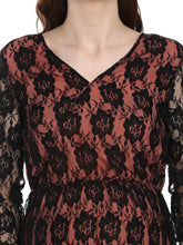 Load image into Gallery viewer, Black & Coral Peach A-line Maternity Dress w/ Floral Pattern, Made of Lace & Crepe- Mine4Nine