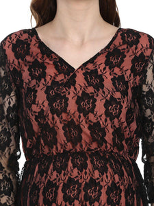 Black & Coral Peach A-line Maternity Dress w/ Floral Pattern, Made of Lace & Crepe- Mine4Nine