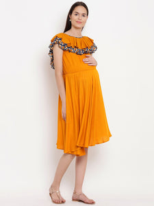 Dense Orange Fit & Flare Maternity Dress w/ a Layered Frill, Made of Rayon- Mine4Nine