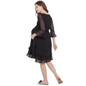 Black Fit & Flare Maternity Dress Made of Chiffon- Mine4Nine