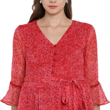 Load image into Gallery viewer, Crimson Fit & Flare Frilly Maternity Dress Made of Chiffon- Mine4Nine