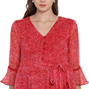 Crimson Fit & Flare Frilly Maternity Dress Made of Chiffon- Mine4Nine