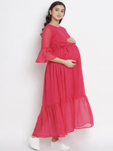 Load image into Gallery viewer, Mine4Nine - Dress - Rose Red Fit & Flare Maternity Dress Made of Chiffon & Rayon