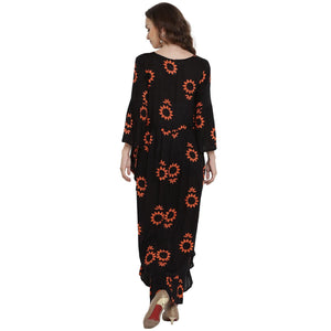 Black Wrap Maternity Dress w/ Floral Pattern, Made of Rayon- Mine4Nine