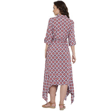 Load image into Gallery viewer, Fire Brick Red Asymmetric Maternity Dress w/ Geometric Print Made of Rayon- Mine4Nine