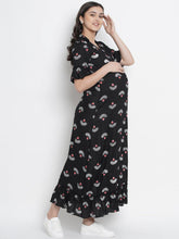 Load image into Gallery viewer, Mine4Nine - Dress - Black A-Line Maxi Maternity Dress w/ Traditional Print, Made of Rayon
