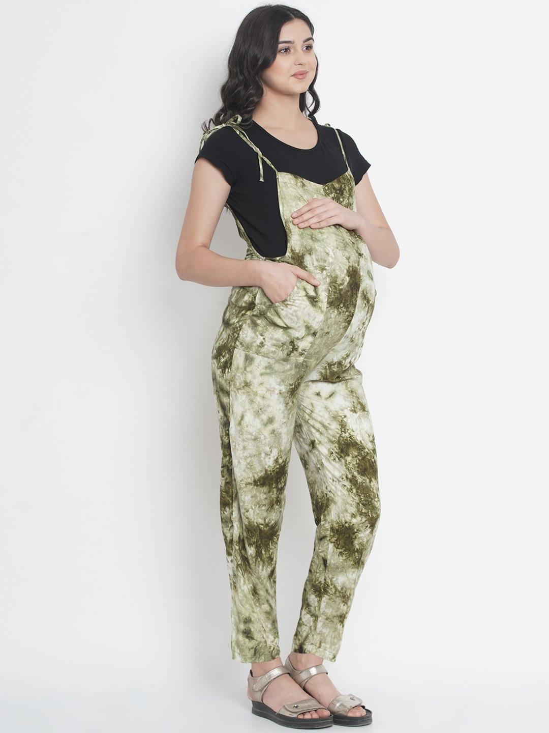 Mine4Nine - Dungaree - Twist of Lime Green Regular Maternity Dungaree w/ Tie & Dye Print, Made Of Rayon