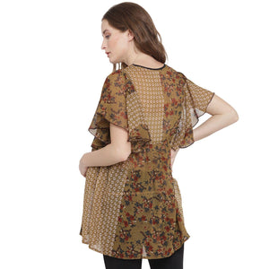 Khaki Ruffled Maternity Top w/ Floral Design, Made of Chiffon- Mine4Nine