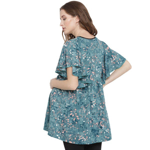 Dark Cyan Regular Fit Maternity Top w/ Floral Pattern Made of Crepe- Mine4Nine