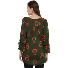 Load image into Gallery viewer, Dark Olive Green Drop Waist Maternity Top w/ Floral Pattern, Made of Rayon- Mine4Nine