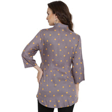 Load image into Gallery viewer, Light Slate Gray Regular Fit Maternity Top w/ Polka Print Made of Rayon- Mine4Nine