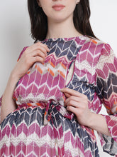 Load image into Gallery viewer, Multicolor A-Line Maternity Dress w/ Geometric Pattern, Made of Chiffon & Lycra