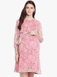 Light Pink Shift Maternity Dress w/ Floral Pattern, Made of Chiffon- Mine4Nine
