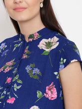 Load image into Gallery viewer, Navy A-line Maternity Dress w/ Floral Print, Made of Rayon- Mine4Nine