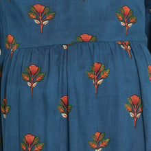 Load image into Gallery viewer, Teal Wrap Maternity Dress w/ Floral Pattern Made of Rayon- Mine4Nine