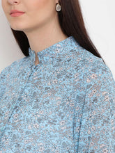 Load image into Gallery viewer, Light Blue Regular Fit Maternity Top w/ Floral Print, Made of Georgette- Mine4Nine