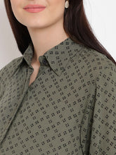 Load image into Gallery viewer, Dark Olive Green Regular Fit Maternity Top w/ Geometric Pattern, Made of Rayon- Mine4Nine
