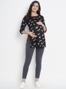 Mine4Nine - Top - Black Regular Fit Maternity Top w/ Floral Print, Made of Rayon