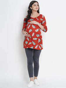 Mine4Nine - Top - Crimson Red Regular Fit Maternity Top w/ Leaf Print Made of Rayon