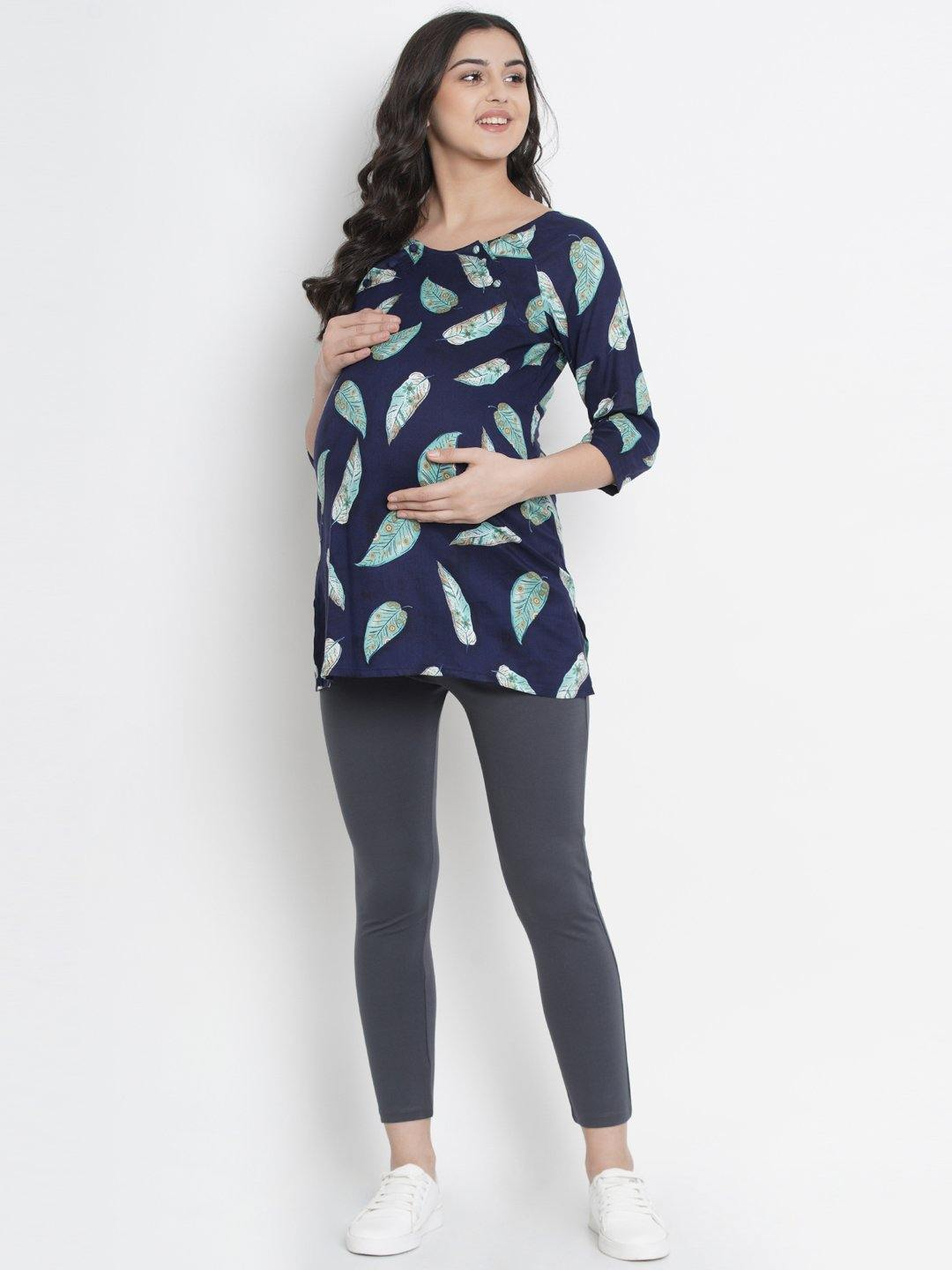 Mine4Nine - Top - Space Blue Regular Fit Maternity Top w/ Leaf Print, Made of Rayon