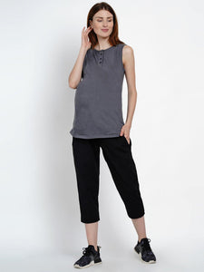 Mine4Nine Women's Grey Cotton Maternity Yoga T-shirts