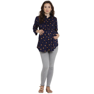 Midnight Blue Regular Maternity Top w/ Polka Dots Made of Rayon- Mine4Nine