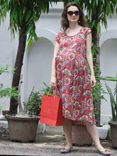 Load image into Gallery viewer, Reddish-Brown Midi Maternity Dress w/ Paisley Patterns, Made of Rayon- Mine4Nine