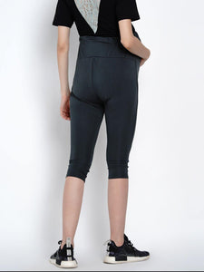 Mine4Nine Women's Grey Cotton Lycra Maternity Track Pants