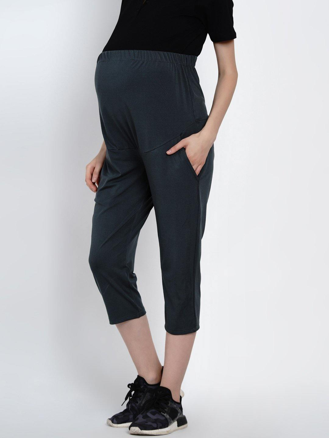 Mine4Nine - Trackpants - Mine4Nine Women's Grey Cotton Lycra Maternity Track Pants