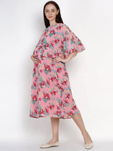 Load image into Gallery viewer, Mine4Nine Women's Pink Fit & Flare Georgette Maternity Dress