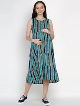 Load image into Gallery viewer, Mine4Nine - Dress - Mine4Nine Women's Blue A-Line Rayon Maternity Dress