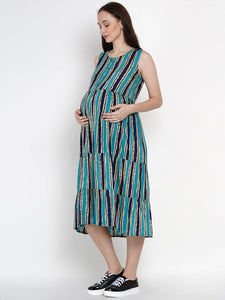 Mine4Nine - Dress - Mine4Nine Women's Blue A-Line Rayon Maternity Dress