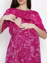 Load image into Gallery viewer, Mine4Nine Women's Pink A-Line Rayon Maternity Dress