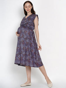Mine4Nine Women's Grey A-Line Rayon Maternity Dress