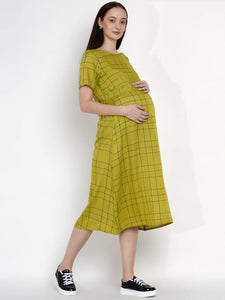Mine4Nine Women's Green A-Line Rayon Maternity Dress