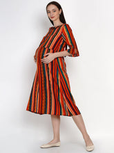 Load image into Gallery viewer, Mine4Nine Women's Multi A-Line Rayon Maternity Dress