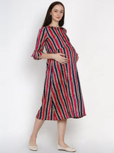 Load image into Gallery viewer, Mine4Nine - Dress - Mine4Nine Women's Pink A-Line Rayon Maternity Dress