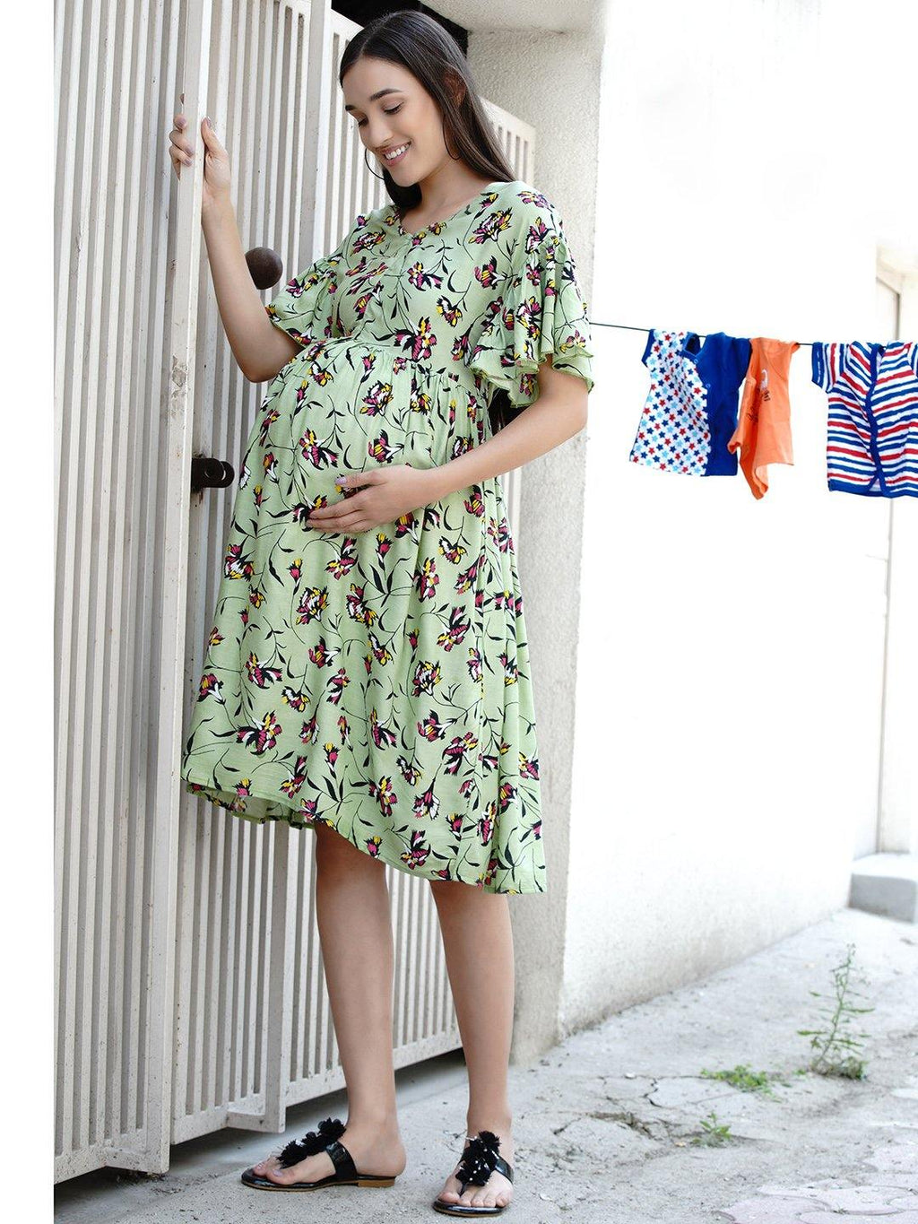 "Mine4Nine ""Day-after-Day"" Women's  Green Floral Fit and Flare Midi Rayon Maternity & Nursing Dress"