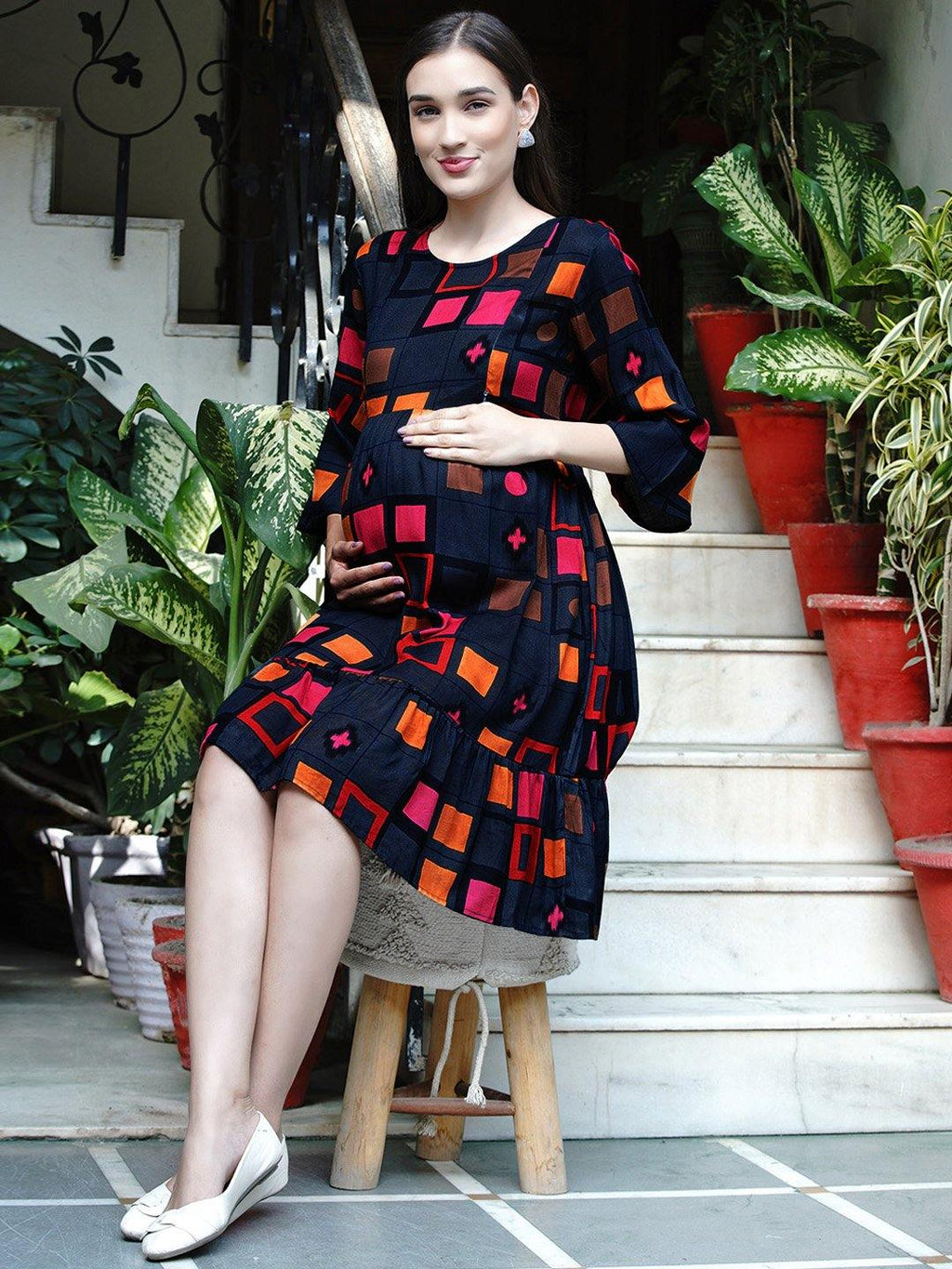 "Mine4Nine ""Day-after-Day"" Women's Multicolor Geometric print Fit and Flare Midi Rayon Maternity & Nursing Dress"