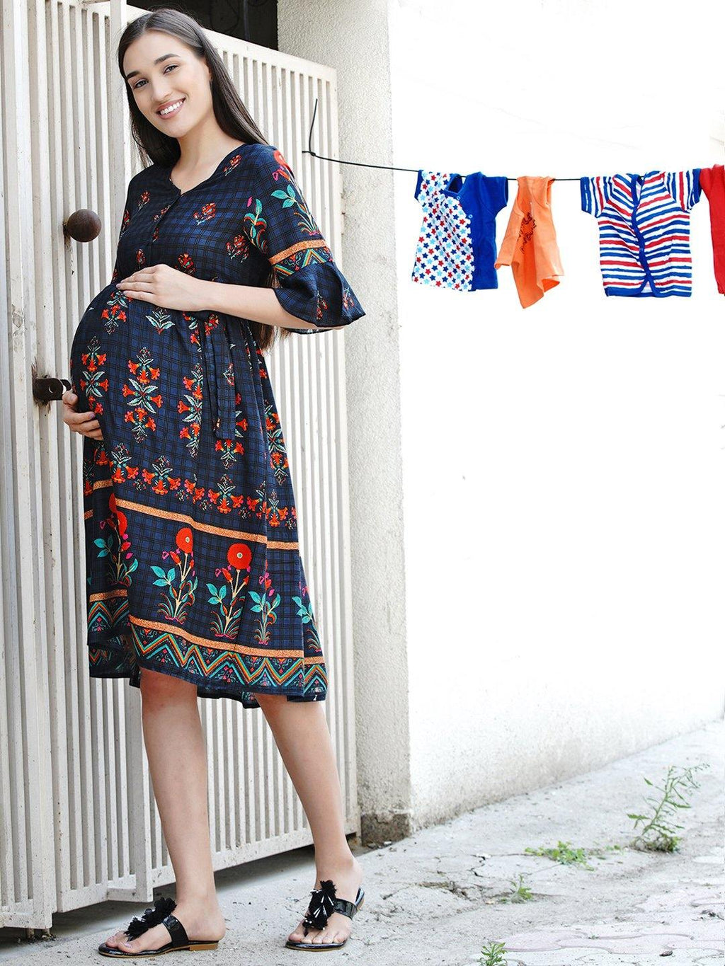"Mine4Nine ""Day-after-Day"" Women's Multicolor border print Fit and Flare Midi Rayon Maternity & Nursing Dress"