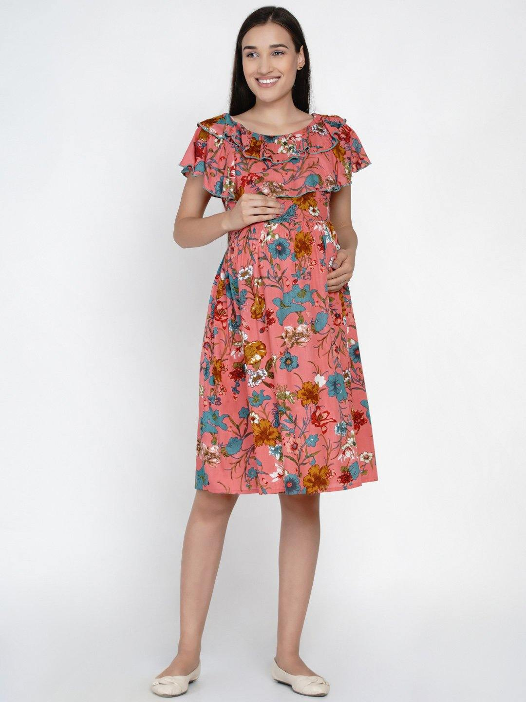 "Mine4Nine ""Day-after-Day"" Women's Dark pink multicolor floral ruffled Midi Rayon Maternity & Nursing layered Dress"