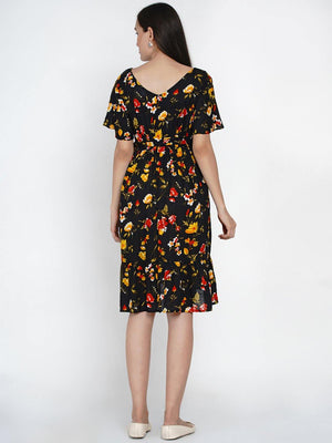 "Mine4Nine ""Day-after-Day"" Women's Navy floral fit and flare Midi Rayon Maternity & Nursing Dress"