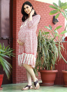 Crimson Red on White A-line Maternity Dress, Paisley Design, Made of Crepe- Mine4Nine