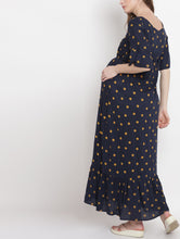 Load image into Gallery viewer, Mine4Nine Women's Navy Maxi Rayon Maternity Dress