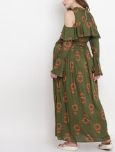 Load image into Gallery viewer, Dark Olive Green A-line Maternity Dress w/ Floral Pattern, Made of Rayon