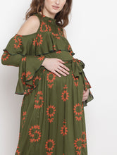 Load image into Gallery viewer, Mine4Nine Women's Olive A-Line Rayon Maternity Dress