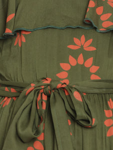 Dark Olive Green A-line Maternity Dress w/ Floral Pattern, Made of Rayon
