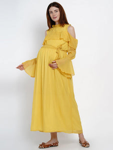 Mine4Nine Women's Maxi Chiffon Maternity Dress